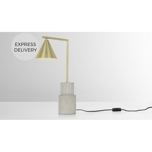 Skasen Table Lamp Tall, Concrete and Brass
