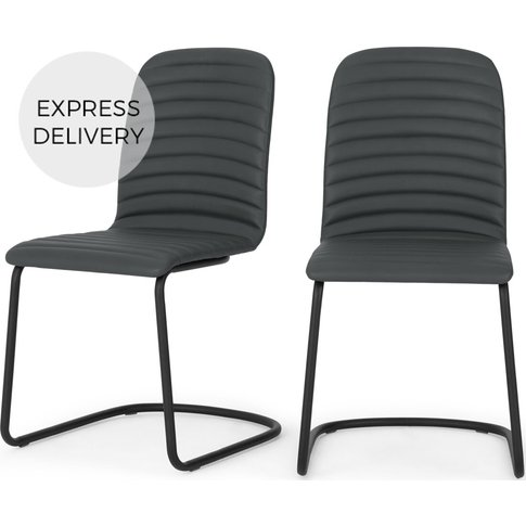 Set Of 2 Cata Cantilever Dining Chairs, Grey Pu