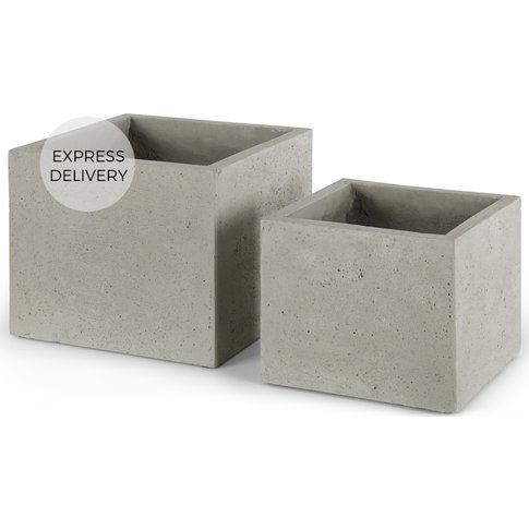 Heba Set Of Two Fibre Cement Square Planters, Grey