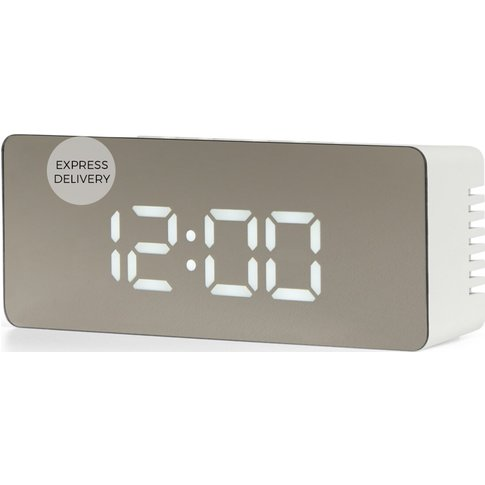 Seren Mirror Finish Alarm Clock, White