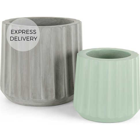 Rigida Set Of Two Large Concrete Planters, Grey & Mint