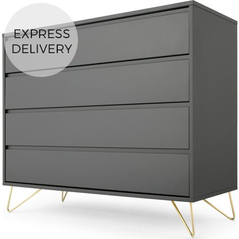 Elona Chest Of Drawers, Charcoal And Brass