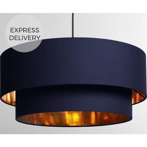 Oro Pendant Drum Lamp Shade Layered, Navy & Copper