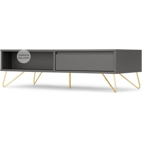 Elona Coffee Table, Charcoal and Brass