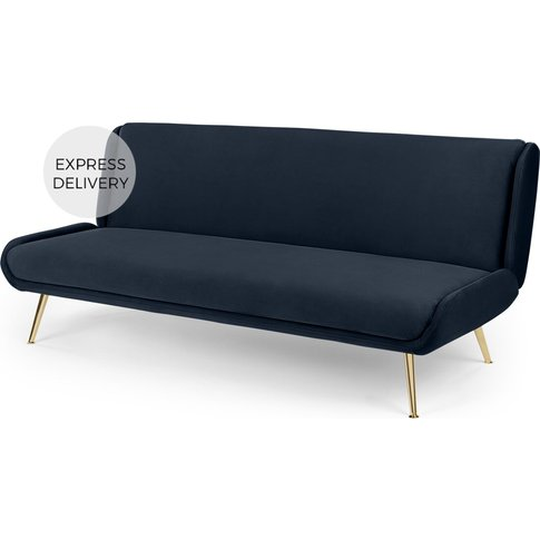 Moby Click Clack Sofa Bed, Sapphire Blue Velvet With Brass Leg