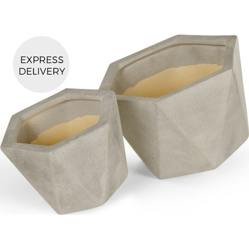 Opaca Set Of Two Concrete Effect Geo Planters, Grey