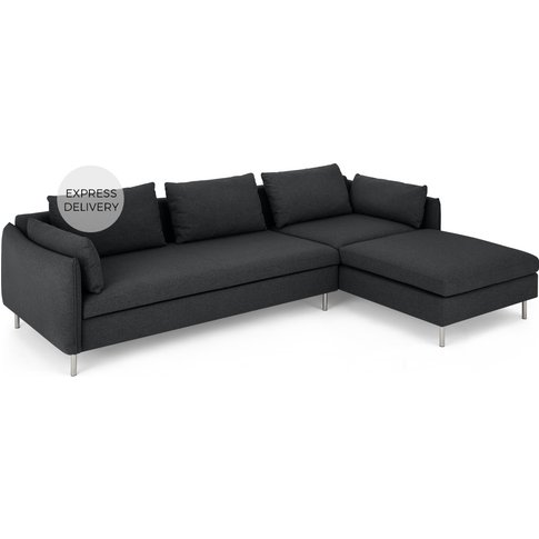 Vento Right Hand Facing Chaise End Sofa Bed, Sterlin...