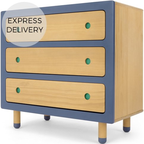 Chase Chest of Drawers, Pine and Blue
