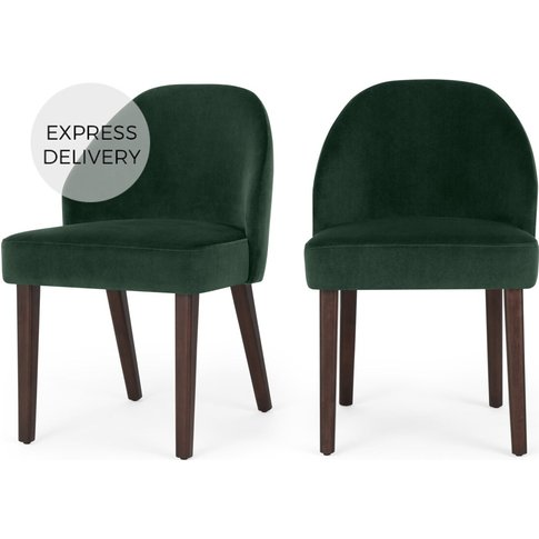Set Of 2 Alec Dining Chairs, Pine Green Velvet And D...