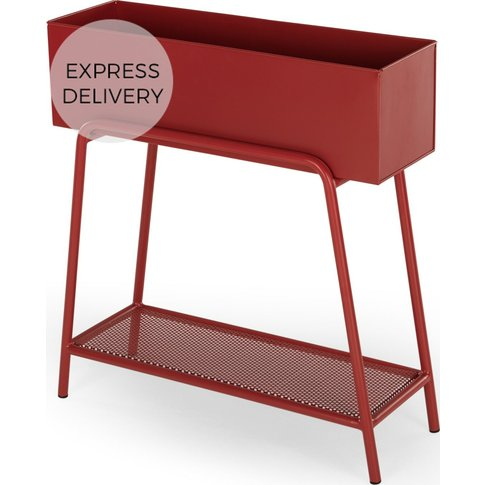 Rubra Raised Metal Planter Stand, Rust Red