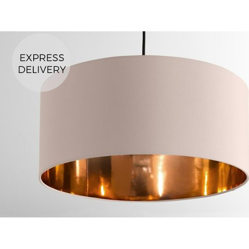 Oro Pendant Drum Lamp Shade, Pink & Copper