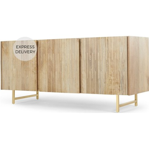 Aphra Sideboard, Light Mango Wood And Brass Inlay