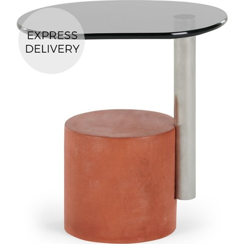Calvin Side Table, Brushed Stainless Steel And Coral
