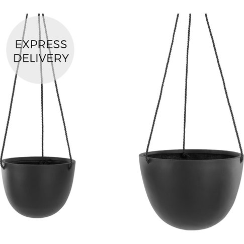 Pelle Polyresin Set Of Two Hanging Planters, Black