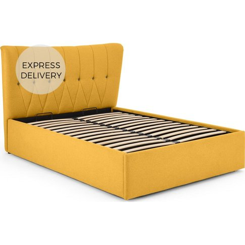 Charley King Size Bed With Ottoman Storage, Yolk Yellow