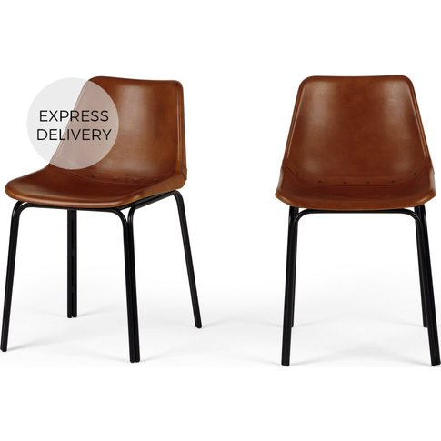 Set Of 2 Lodi Dining Chairs, Tan And Black