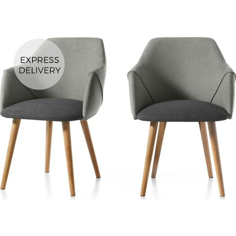 Set Of 2 Lule Carver Dining Chairs, Marl And Hail Grey And Oak