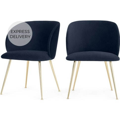 Set Of 2 Adeline Carver Dining Chairs, Royal Blue Ve...