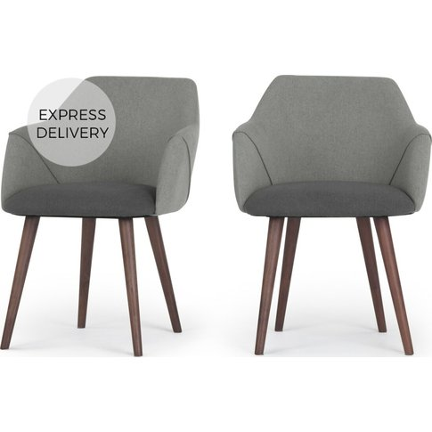 Set Of 2 Lule Carver Dining Chairs, Marl And Hail Grey
