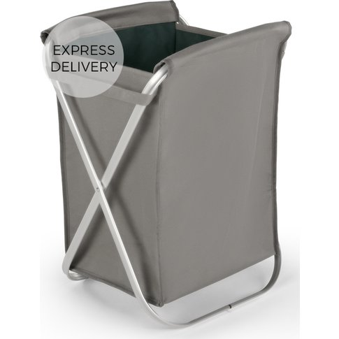 Ponting Foldable Fabric Laundry Basket With Silver F...