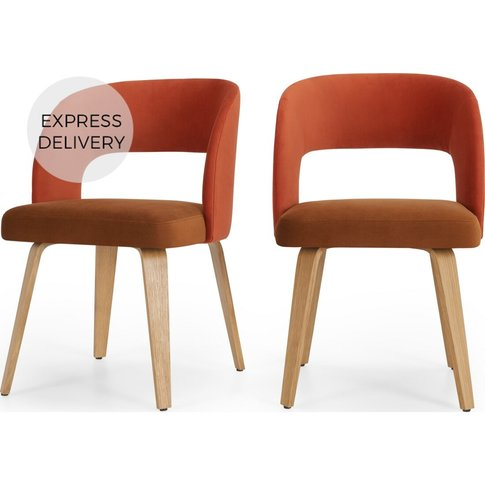 Set Of 2 Enid Dining Chairs, Burnt Orange & Golden T...