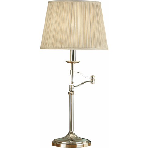 Table Light - Polished Nickel Plate & Beige Organza ...