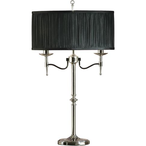 Table Light - Polished Nickel Plate & Black Organza ...