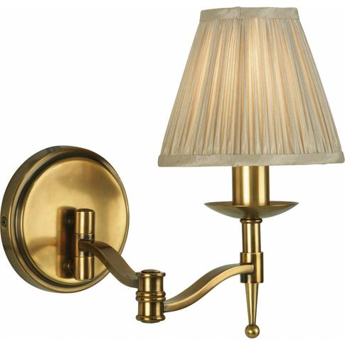Wall Light - Antique Brass Finish & Beige Organza Ef...
