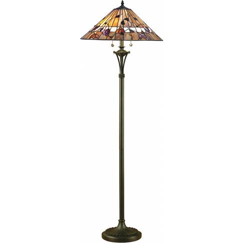 Floor Light - Tiffany Style Glass & Dark Bronze Pain...