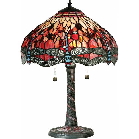 Table Light - Tiffany Premium Art Glass & Dark Bronz...