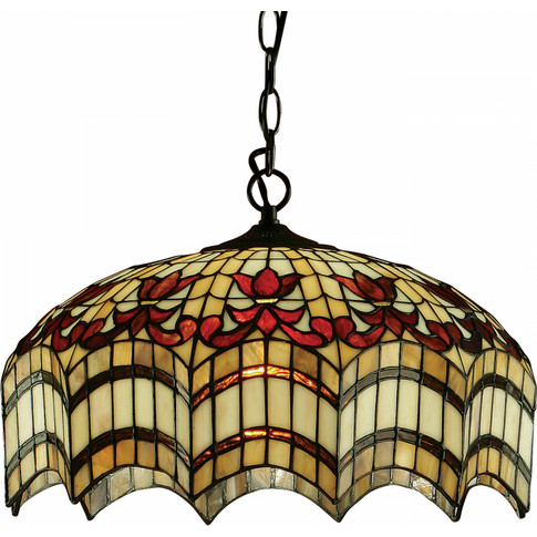 Pendant Light - Tiffany Style Glass & Dark Bronze Paint With Highlights By Happy Homewares