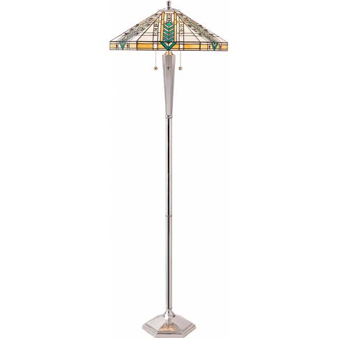 Floor Light - Tiffany Style Glass & Polished Alumini...