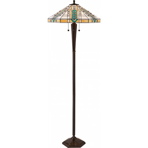 Floor Light - Tiffany Style Glass & Deep Antique Patina By Happy Homewares
