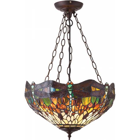 Pendant Light - Tiffany Premium Art Glass & Dark Bro...