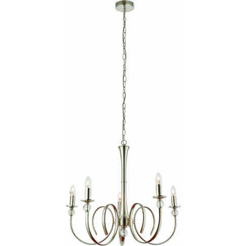 Pendant Light - Polished Nickel Plate & Clear Crystal By Happy Homewares