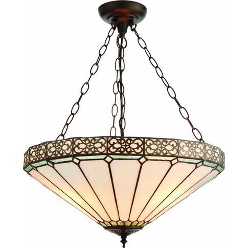 Pendant Light - Tiffany Art Glass & Dark Bronze Pain...
