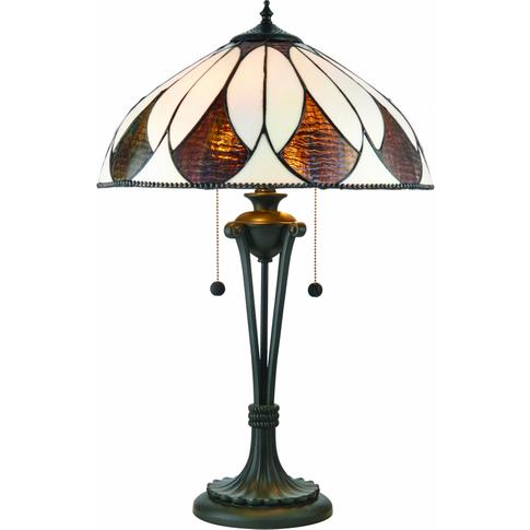 Table Light - Tiffany Style Glass & Dark Bronze Pain...