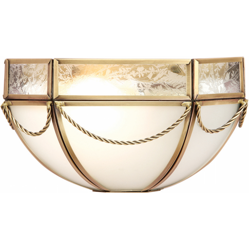 Wall Light - Antique Brass Finish & Frosted Glass By...