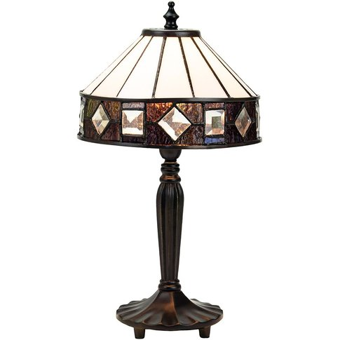 Modern Designer Tiffany Table Lamp With Amber And Pu...