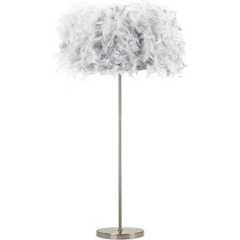 Modern And Chic Real Grey Feather Floor Lamp With Sa...