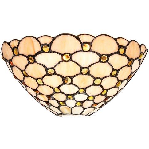 Traditional Amber Glass Tiffany Wall Light Fitting W...