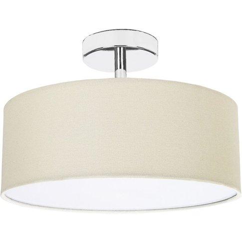 Contemporary Cream Linen Fabric Semi Flush Ceiling L...
