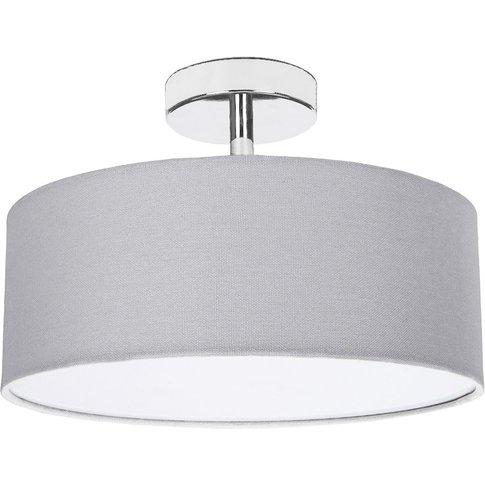 Contemporary Grey Linen Fabric Semi Flush Ceiling Li...
