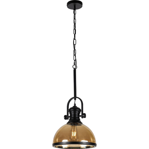 Industrial Black Pendant Ceiling Light with Amber Ac...