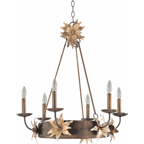 Bronze And Gold 6lt Chandelier - 6 X 60w E14 By Happ...