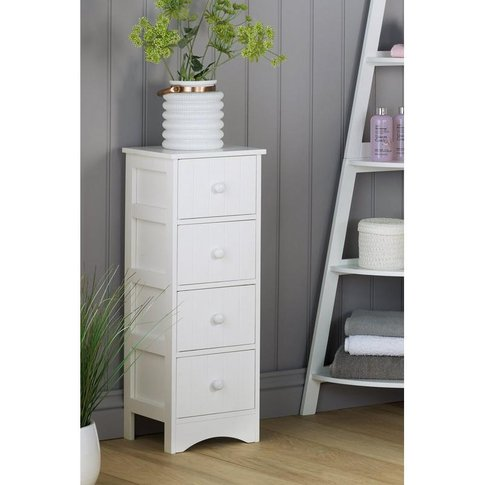4 Drawer White Wooden Storage Unit