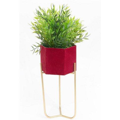 Red Velvet Planter On Gold Metal Stand