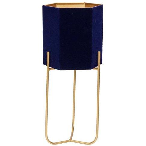 Blue Velvet Planter On Gold Metal Stand