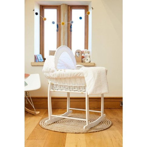 Clair De Lune Broderie Anglaise White Wicker Moses B...