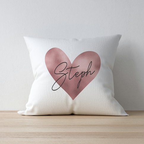 Personalised Rose Gold Heart Filled Cushion